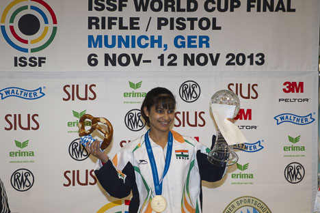 Heena Sidhu wins the gold in ISSF World Cup finals.