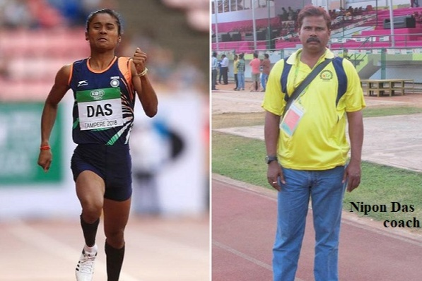 Hima das and her coach Nipon Das.