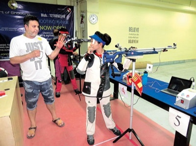 Mehuli ghosh Attending training with Joydeep Karmakar in academy