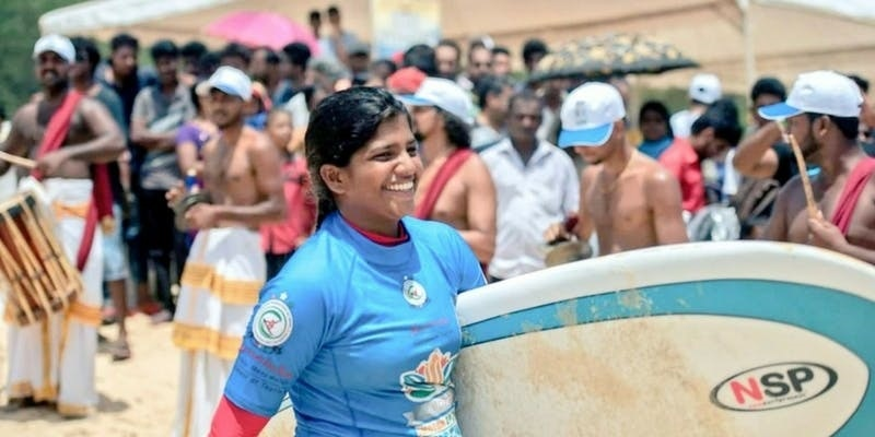 "Tanvi Jagadish is  the winner of  "" SUP Grom of the year 2017""  award."