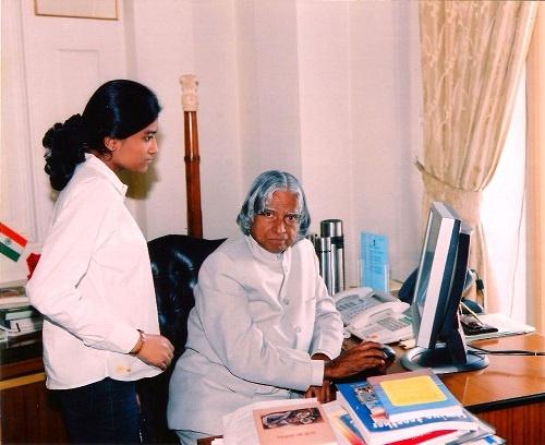 Malvika with A P J Abdul Kalam