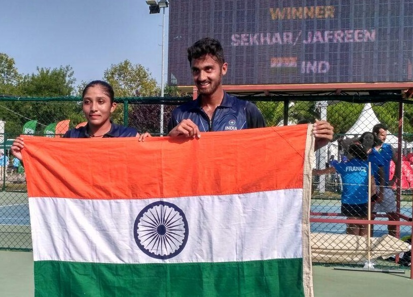 Sekhar won a bronze medal at the Summer Olympics as a doubles player with tennis player Jafreen Shaik