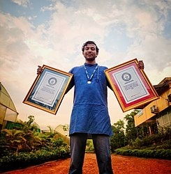 Prithveesh K Bhat with with Guinness World Records Certificates