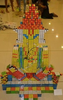 Prithveesh k bhat created an idol of Lord Ganesha with 250 Rubik's cubes at My Friend Ganesha