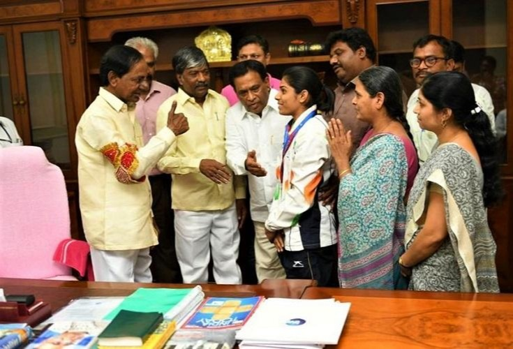 The Chief Minister of Telangana accoladed her with a cash award of Rs.2 crore to Aruna Bubba Reddy After her Win
