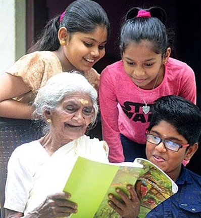Her great-grandchildren, 12-year-old Aparna and nine-year-old Anjana have trained her in reading and writing