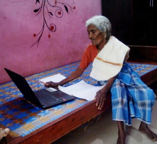 Using the laptop gifted by Kerala's education minister, karthayani Amma is also learning to be tech-savvy