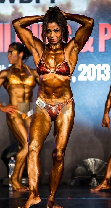 Kiran Ajit Dembla stood sixth and won the title for the most beautiful body in WBPF