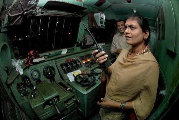 Surekha Yadav checking the engine, the signals etc
