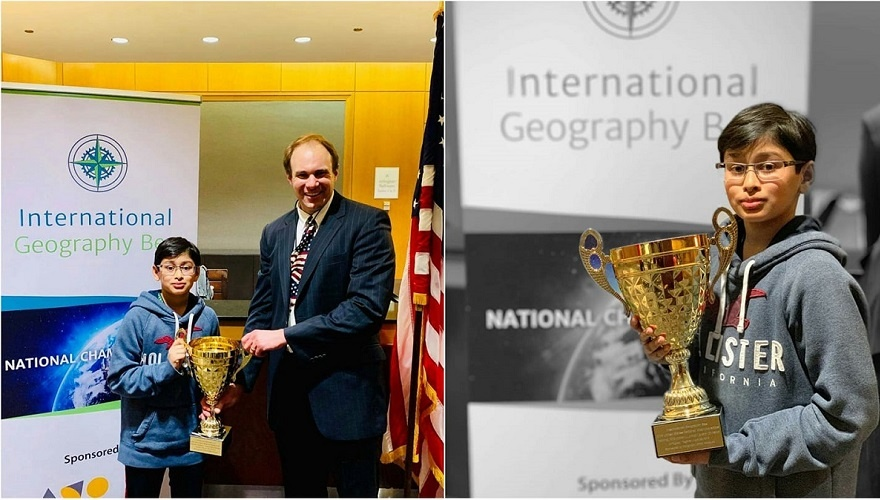 Samvrit rao Won the international Geography Bee trophy for 2019