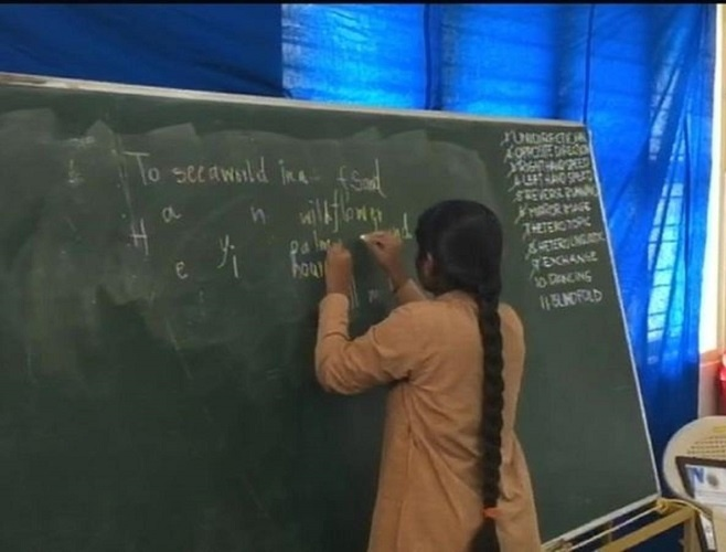 Aadi Swaroopa has the innate ability to write with both hands