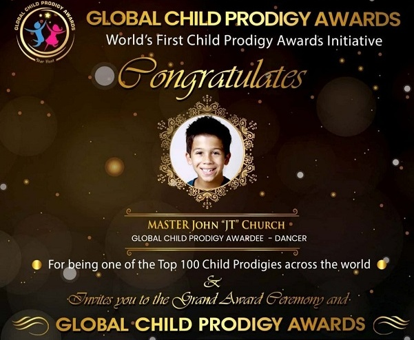 Church received the Global Child Prodigy Award in January 2020 for his outstanding dancing skills