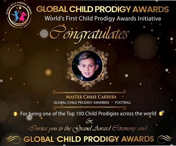 Chase Carrera won Global Child Prodigy Award 2020