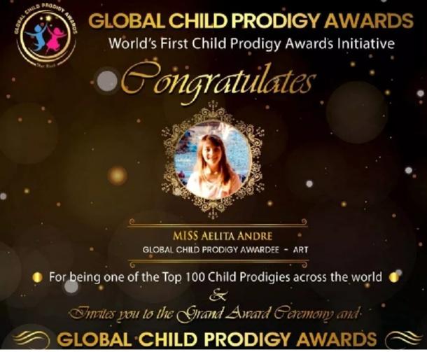 Aelita Andre won the Global Child Prodigy Award 2020