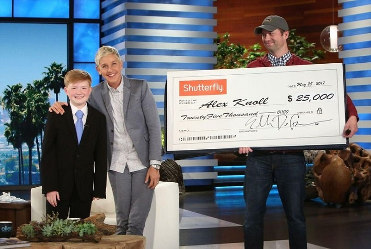 Ellen DeGeneres Impressed by his model, he was given a check of $25,000