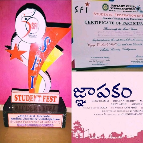 At SFI student fest, yet again, his film Gnapakam was selected as the Best Film in the year 2019