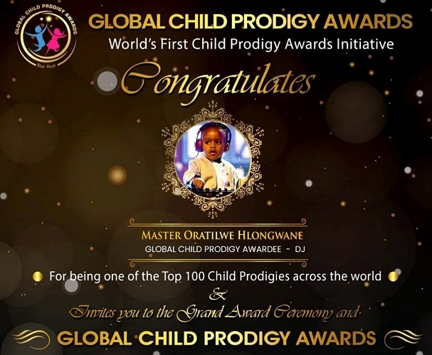 The Global Child Prodigy Award Was Given to Oratilwe on January 2020