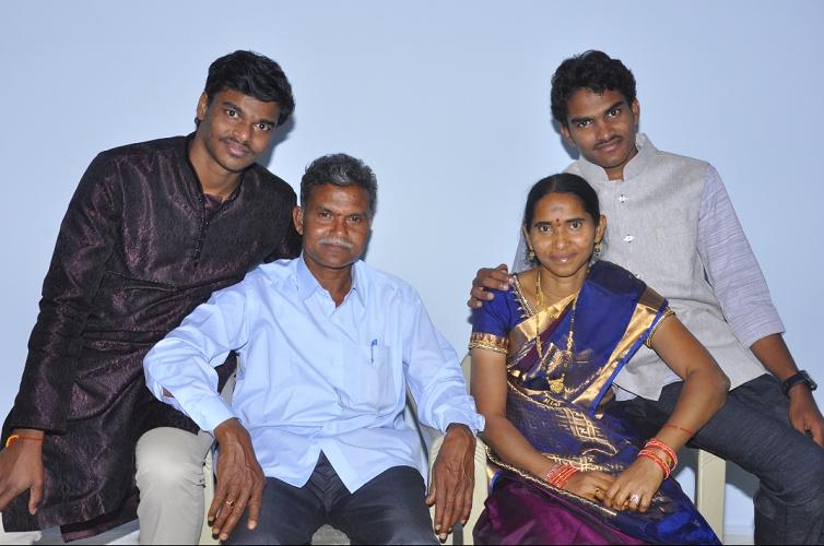 Surya kiran and his family Ravinder(Father) Sridevi(mother ) Chandra Kiran(Elder brother)