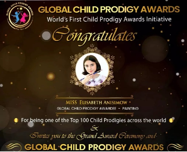 Elisabeth Anisimow received the Global Child Prodigy award in January 2020 for her excellent art skills