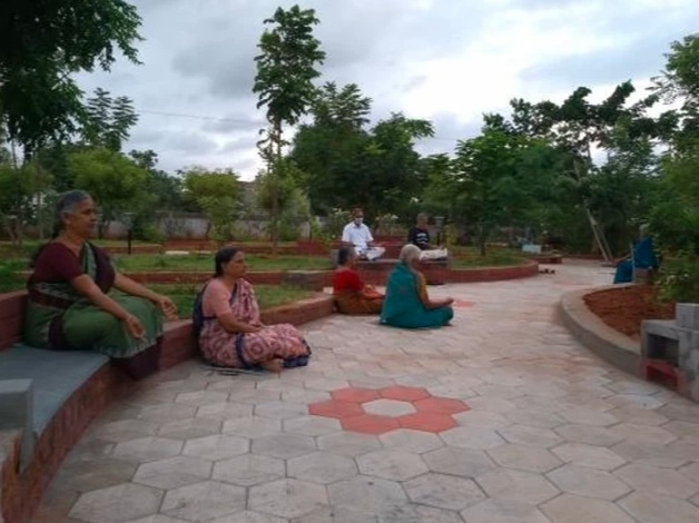 their physical and mental health is strengthened by regular guided yoga, meditation, pranayama, and other spiritual practices