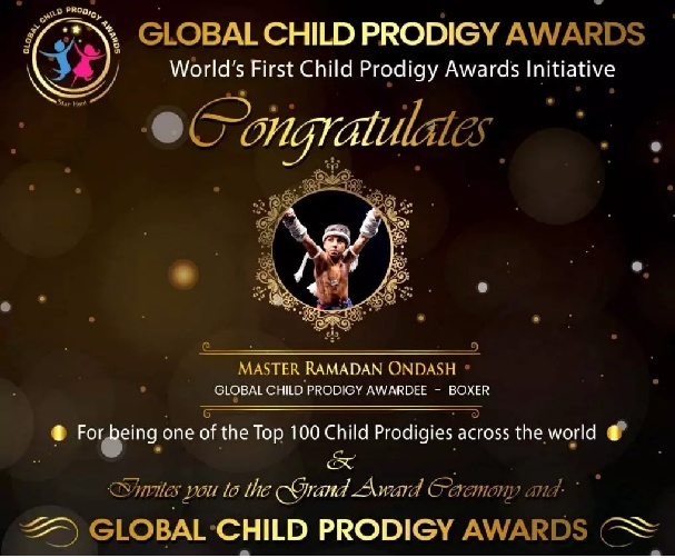 Ramadan Ondash's name is recorded under the best 100 wonders of the year at Global Child Prodigy 2020