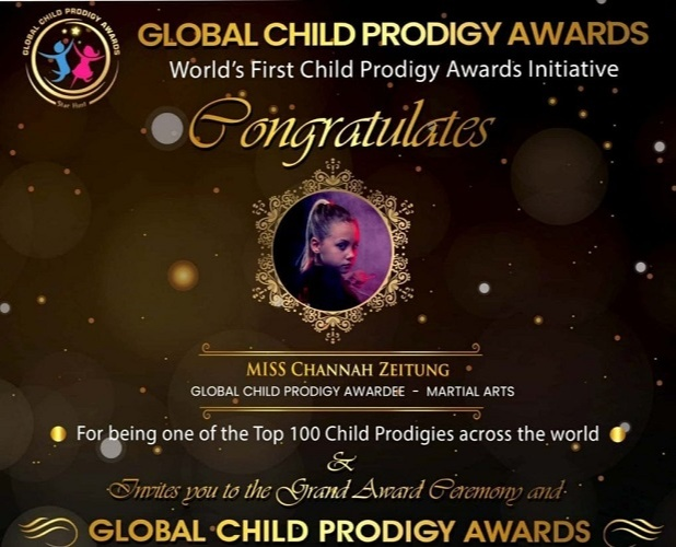 Channah Zeitung received the Global Child Prodigy Award for SportsMartial Arts on January 3, 2020