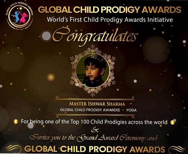 Ishwar Sharma was awarded the Global Child Prodigy Award in the year 2020