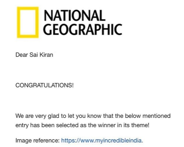 SaiKiran pabbala received a Certificate of Recognition from the National Geographic Society for his outstanding contribution to photography
