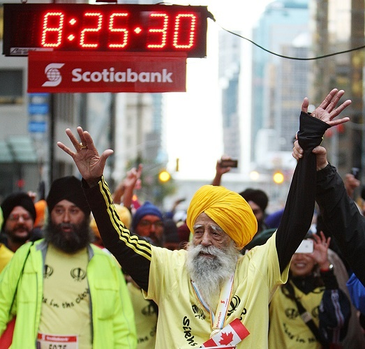 he became the first 100-year-old to finish a marathon, completing the Toronto Waterfront Marathon