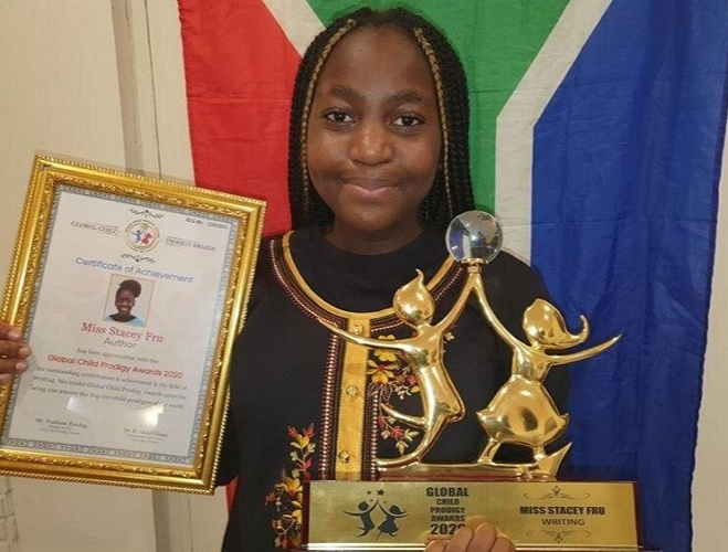 Stacey Fru won the Global Child Prodigy Award in January 2020 for her writing skills