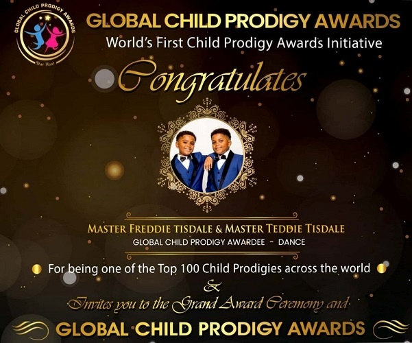 they were Awarded The Global Child Prodigy Award in January 2020 for their record-breaking Tap Dancing skills at the age of 11