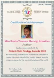 bio imageBonita Treasure Murungi Arinaitwe received the Global Child Prodigy Award in January 2020 for becoming a successful author at a very young age
