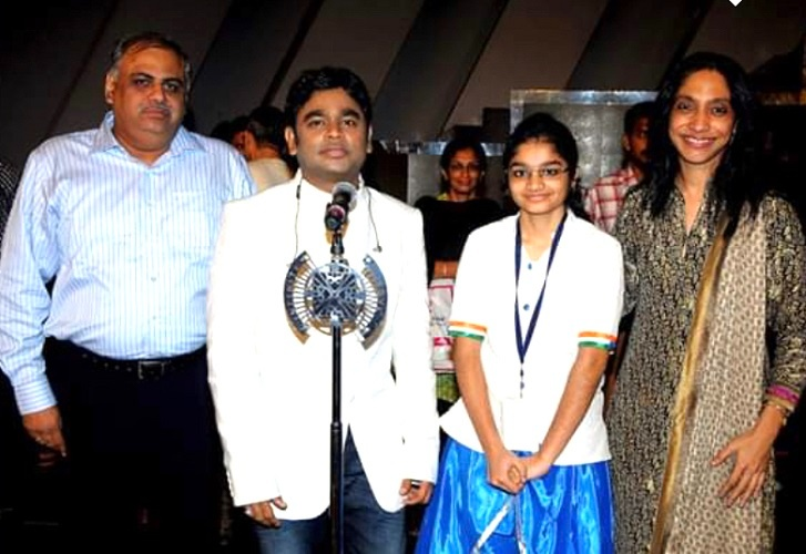 she was announced the winner and got the chance to meet A R Rahman and rehearse with him too