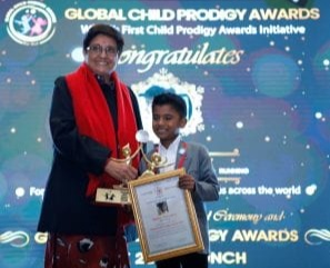 The Global Child Prodigy Awards, the world's first and only award ceremony that felicitates unique and talented children, awarded V. Sarvesh under the category of sports, in the year 2020