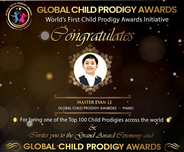 Evan was conferred with the Global Child Prodigy Awards that recognizes talents from various countries and backgrounds for his excellence in Music Piano