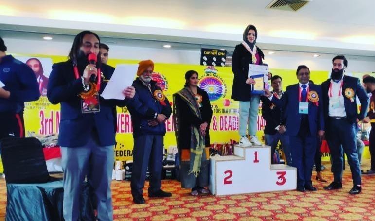 Arifa bagged gold medal by lifting 100 kg weight at 3rd National Powerlifting Championship held at Karnal, Haryana