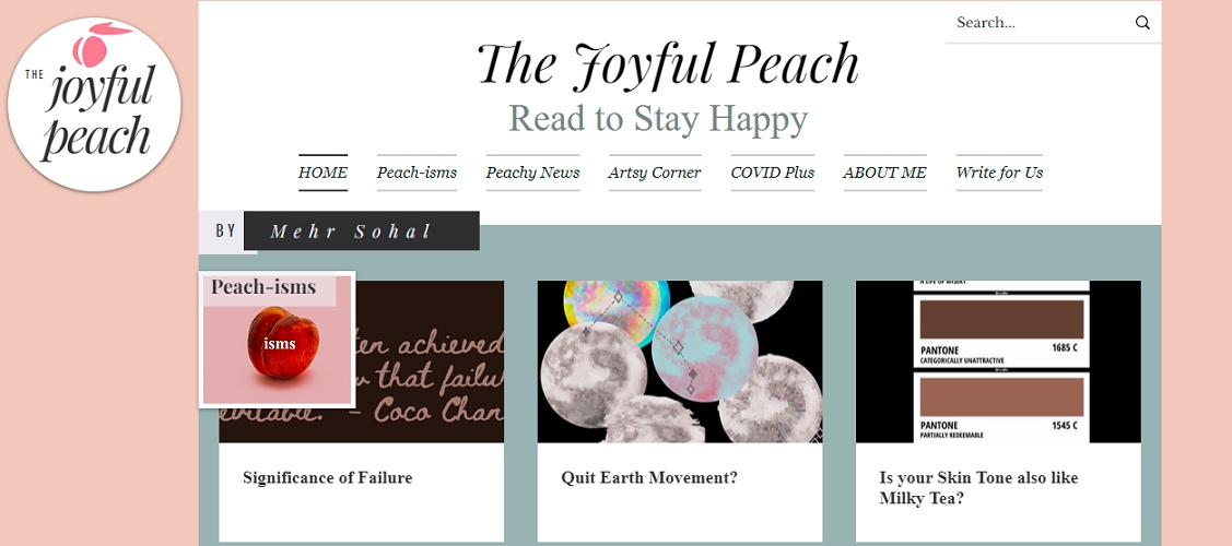 she developed the idea of starting a news portal and launched - The Joyful Peach - aiming it to focus entirely on the happy events around us