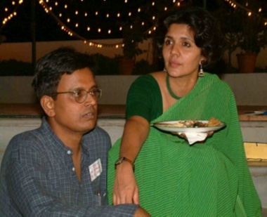Renowned journalist Dilip D'Souza and his wife Vibha Kamat, who helped Amin with the editing