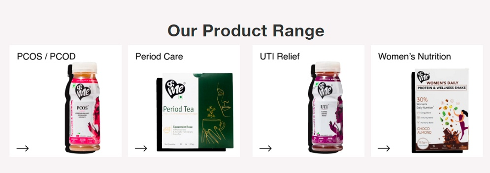 Their wide range of products include PCOS drink, PCOS tea, period tea, period chocolate, UTI drink, acne drink, hair fall drink, protein powder, as well