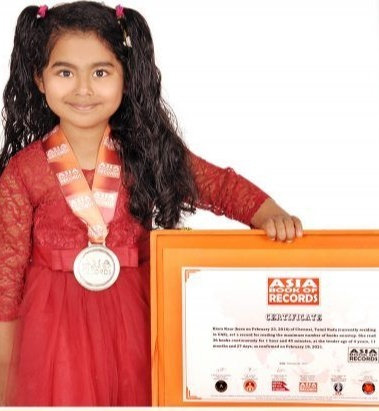 According to the Asia Book of Records, Kiara has set a record for reading the maximum number of books non-stop