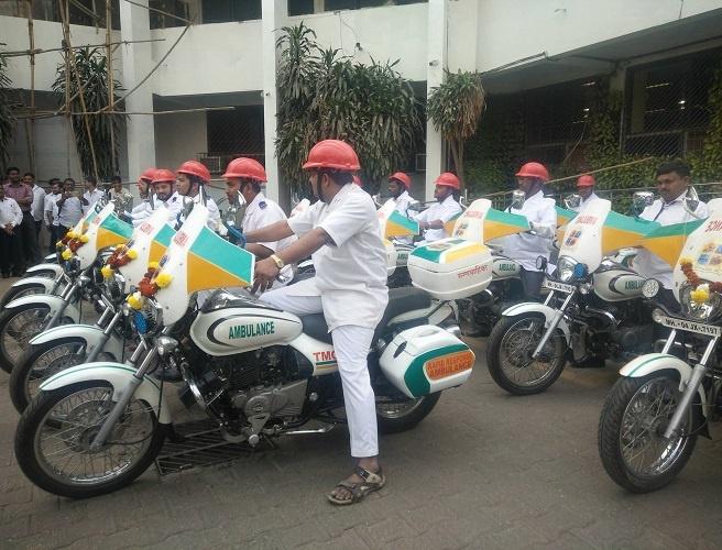 Gabriel launched 15 ambulance bikes at the Thane Municipal corporation