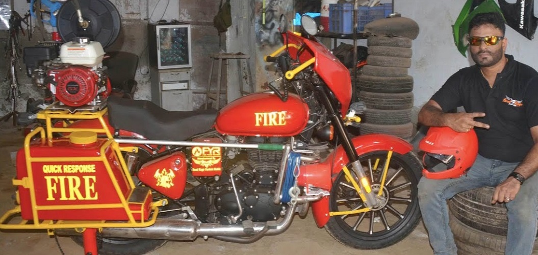Gabriel  built and launched India's first Fire Brigade Bike in the year 2020