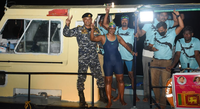 She was accompanied by a 14-member crew including a doctor and observers from the Swimming Federation of India