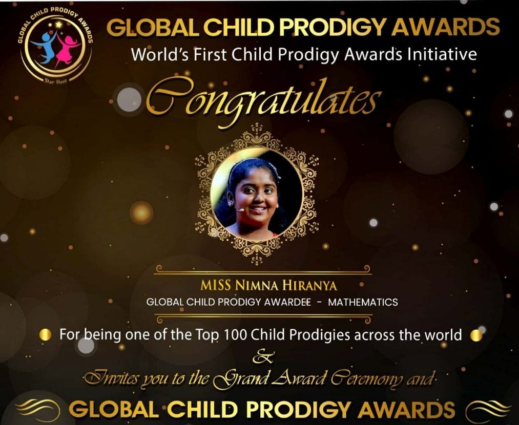 She is delighted to be listed as among the 100 higher-ranked global Child Prodigies