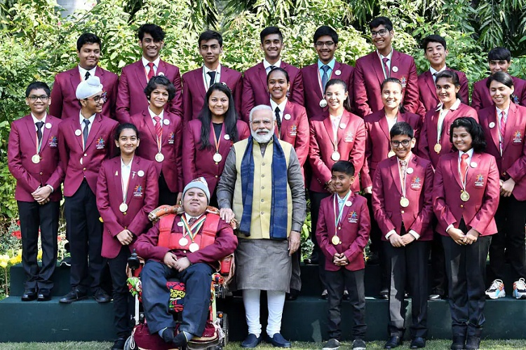 After receiving the award, she proceeded to be feliciatated by the Prime Minister, Narendra Modi in Delhi