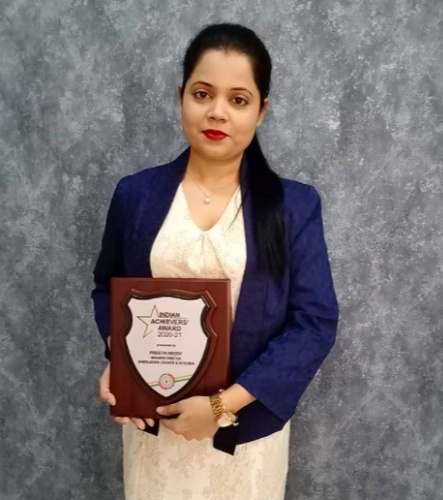 She was presented with the Indian Achievers Award 2020-21 in recognition of her professional achievement and contribution in nation building