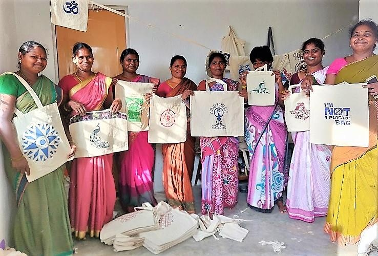 Aparna suggested the women stitch eco-friendly cloth bags made of pure cotton