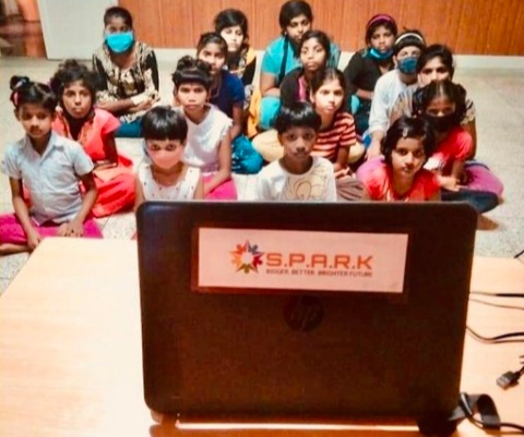 Akarsh and his team set up 12 devices, including tablets and laptops with a steady internet connection, to ensure that children have access to online classes