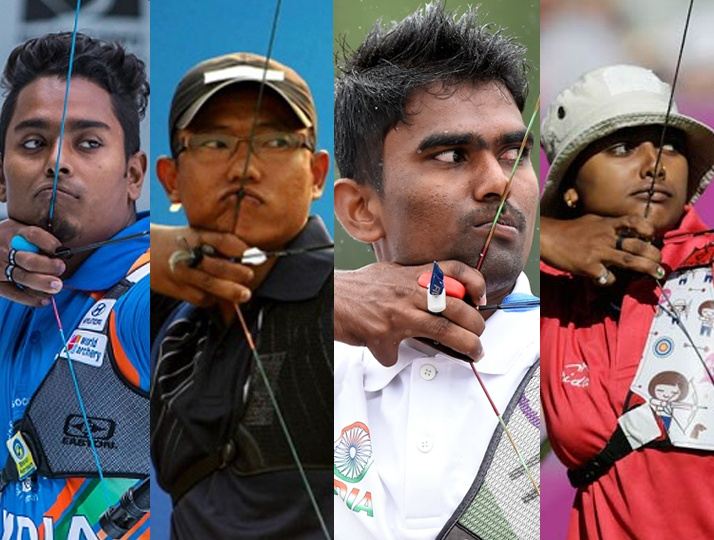 Four Indian Archers ready with bows and arrows to shoot the Bulls Eye at the Tokyo Olympics