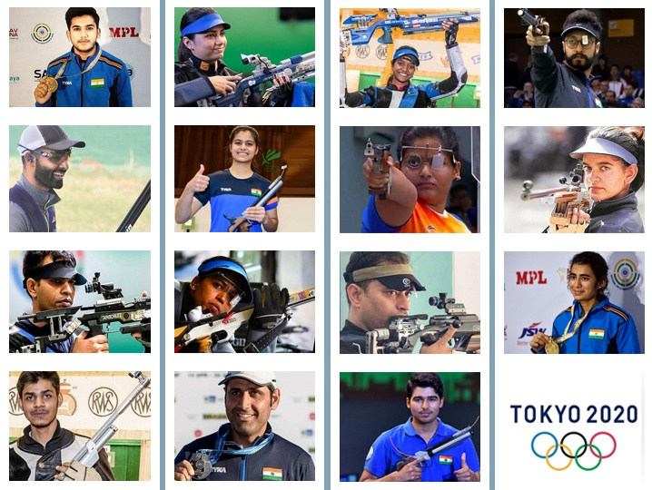 15 Indian shooters ready with their rifles loaded to aim and shoot the targets at Tokyo Olympics